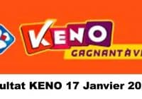 Resultat KENO 17 Janvier 2021 tirage midi et soir