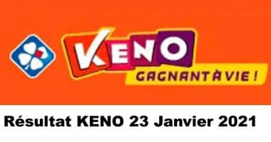 Resultat KENO 23 Janvier 2021 tirage midi et soir