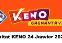 Resultat KENO 24 Janvier 2021 tirage midi et soir
