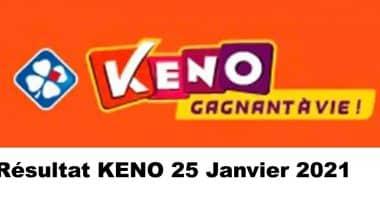 Resultat KENO 25 Janvier 2021 tirage midi et soir