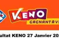 Resultat KENO 27 Janvier 2021 tirage midi et soir