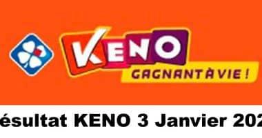 Resultat KENO 3 Janvier 2021 tirage midi et soir