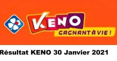 Resultat KENO 30 Janvier 2021 tirage midi et soir