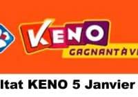 Resultat KENO 5 Janvier 2021 tirage midi et soir
