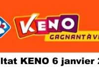 Resultat KENO 6 Janvier 2021 tirage midi et soir