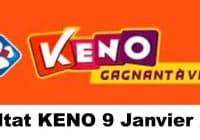 Resultat KENO 9 Janvier 2021 tirage midi et soir