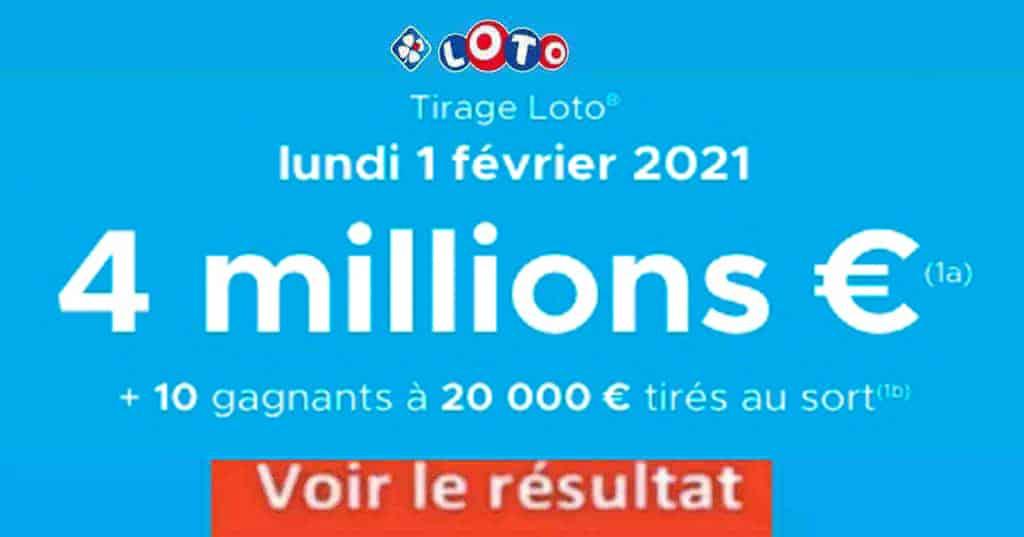 Resultat LOTO 1 Février 2021 joker+ et codes loto gagnant