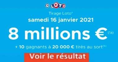Resultat LOTO 16 Janvier 2021 joker+ et codes loto gagnant