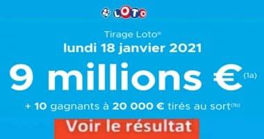 Resultat LOTO 18 Janvier 2021 joker+ et codes loto gagnant