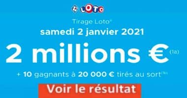 Resultat LOTO 2 janvier 2021 joker+ et codes loto gagnant