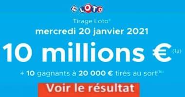 Resultat LOTO 20 Janvier 2021 joker+ et codes loto gagnant