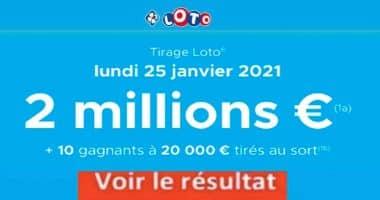 Resultat LOTO 25 Janvier 2021 joker+ et codes loto gagnant