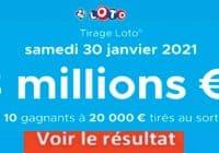 Resultat LOTO 30 Janvier 2021 joker+ et codes loto gagnant