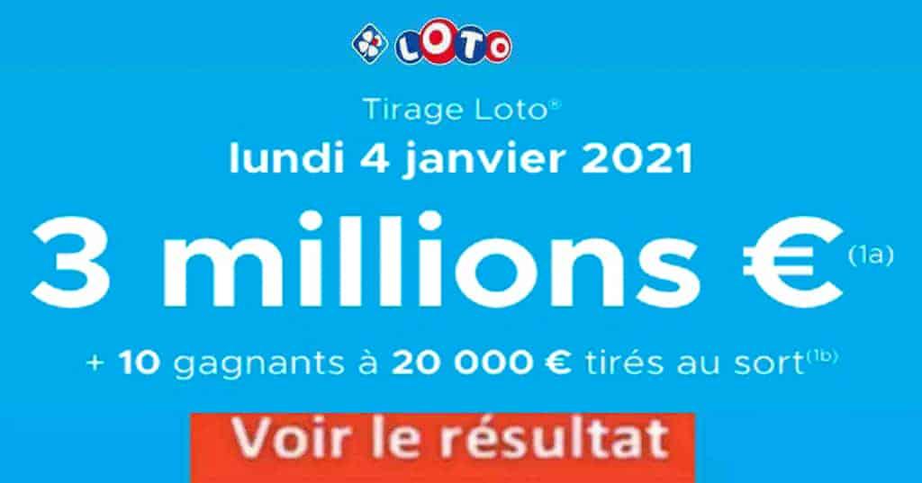 Resultat LOTO 4 Janvier 2021 joker+ et codes loto gagnant