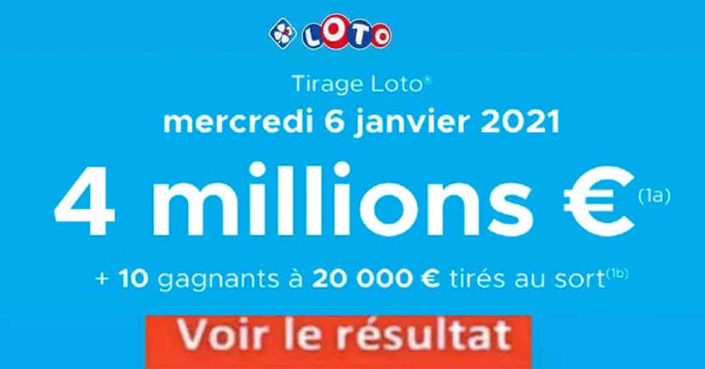 Resultat LOTO 6 Janvier 2021 joker+ et codes loto gagnant
