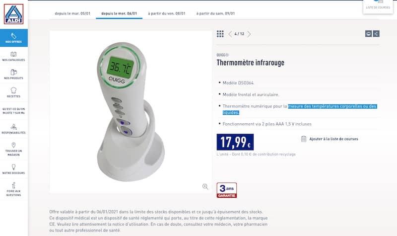 thermometre infrarouge aldi pas cher