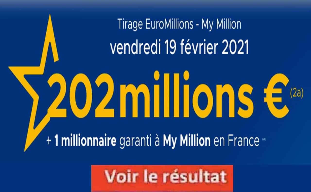 Resultat Euromillion 19 fevrier 2021