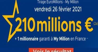 Resultat Euromillion 26 février 2021