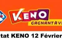 Resultat KENO 12 Février 2021
