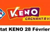 Resultat KENO 28 Février 2021 tirage midi et soir