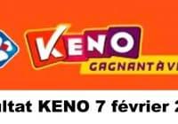 Resultat KENO 7 Février 2021