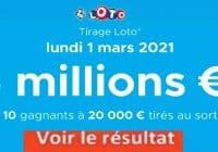 Resultat LOTO 1 Mars 2021 joker+ et codes loto gagnant