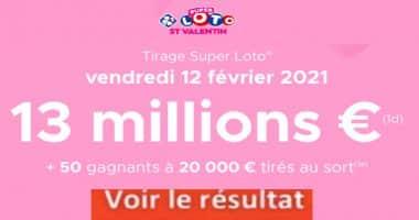 Resultat Super LOTO Saint Valentin 12 Février 2021 joker+ et codes loto gagnant