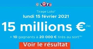 Resultat LOTO 15 Février 2021 Joker+ et codes loto gagnant