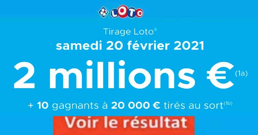 Resultat LOTO 20 Février 2021 Joker+ et codes loto gagnant