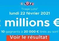 Resultat LOTO 22 Février 2021 Joker+ et codes loto gagnant