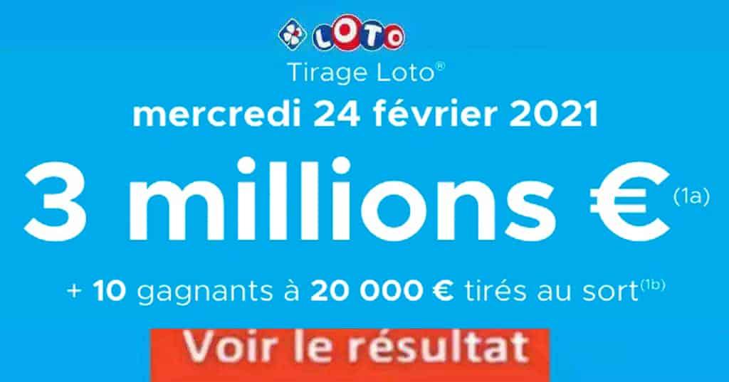 Resultat LOTO 24 Février 2021 Joker+ et codes loto gagnant