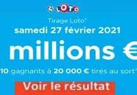 Resultat LOTO 27 Février 2021 Joker+ et codes loto gagnant
