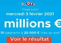 Resultat LOTO 3 Février 2021 joker+ et codes loto gagnant