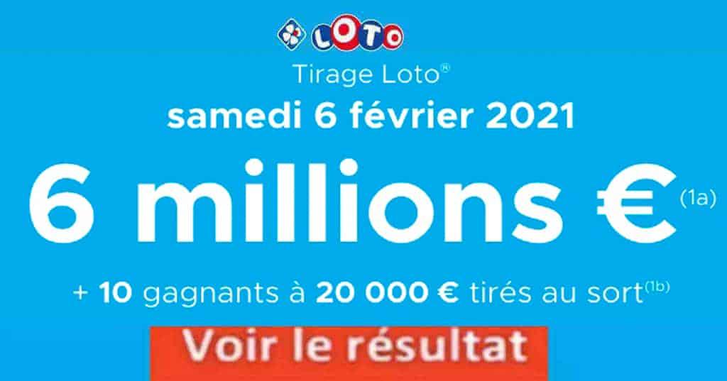 Resultat LOTO 6 Février 2021 joker+ et codes loto gagnant
