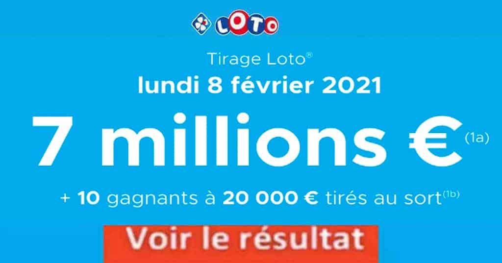 Resultat LOTO 8 Février 2021 Joker+ et codes loto gagnant