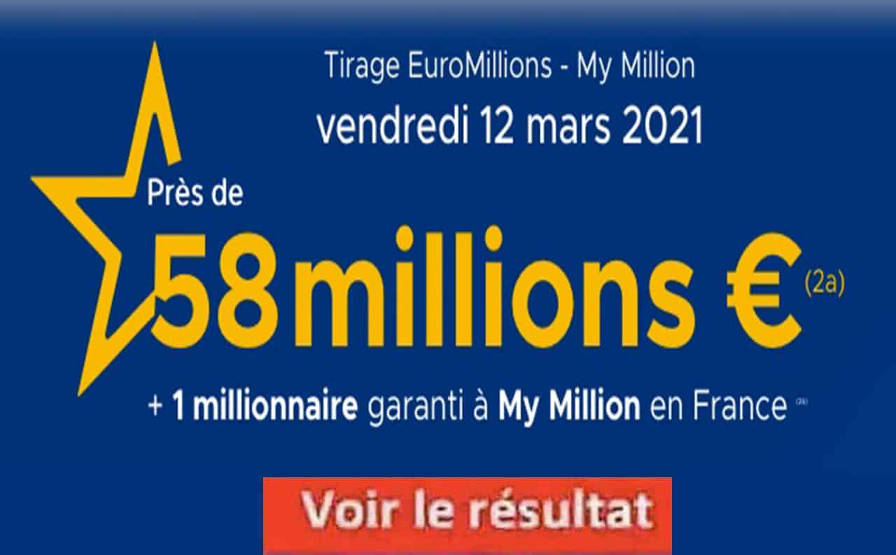 Resultat Euromillion 12 Mars 2021