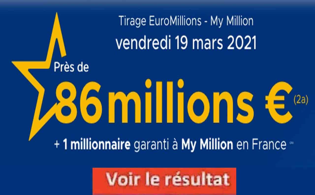 Resultat Euromillion 19 Mars 2021