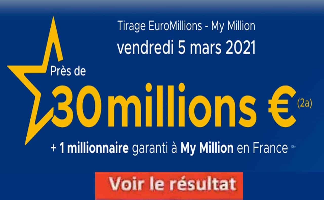Resultat Euromillion 5 Mars 2021
