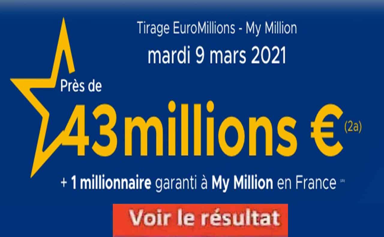 Resultat Euromillion 9 Mars 2021