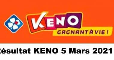 Resultat KENO 5 Mars 2021 tirage midi et soir