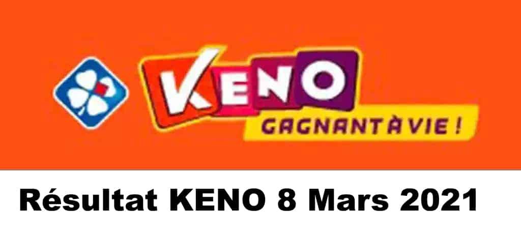 Resultat KENO 8 Mars 2021 tirage midi et soir