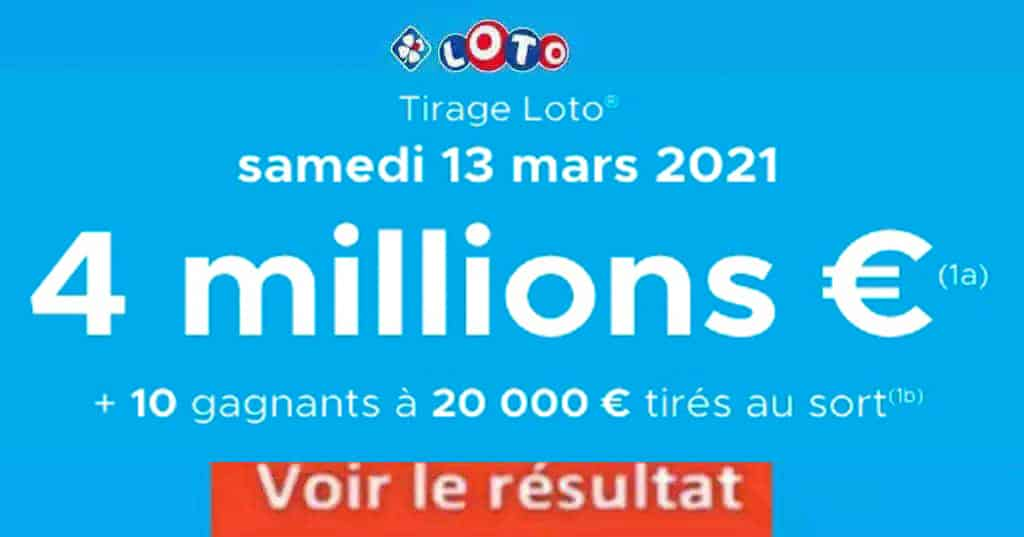 Resultat LOTO 13 Mars 2021 joker+ et codes loto gagnant