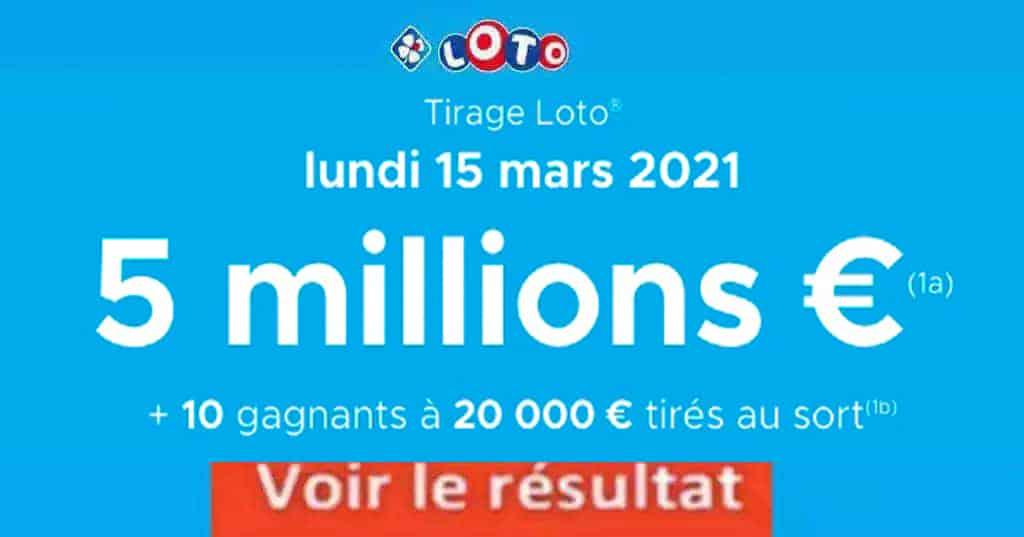 Resultat LOTO 15 Mars 2021 joker+ et codes loto gagnant