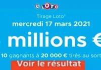 Resultat LOTO 17 Mars 2021 joker+ et codes loto gagnant
