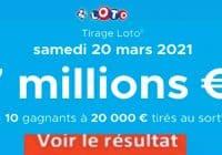 Resultat LOTO 20 Mars 2021 joker+ et codes loto gagnant