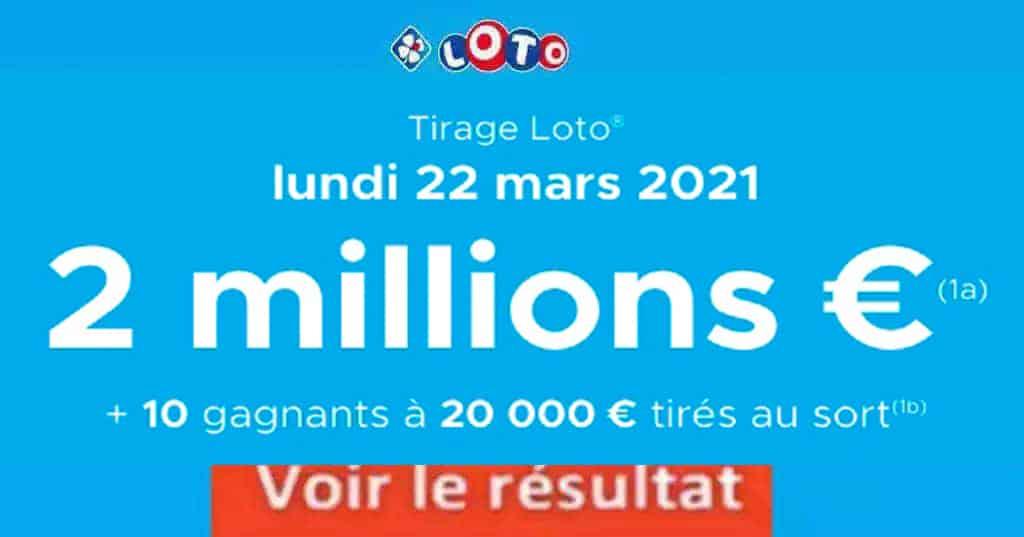 Resultat LOTO 22 Mars 2021 joker+ et codes loto gagnant