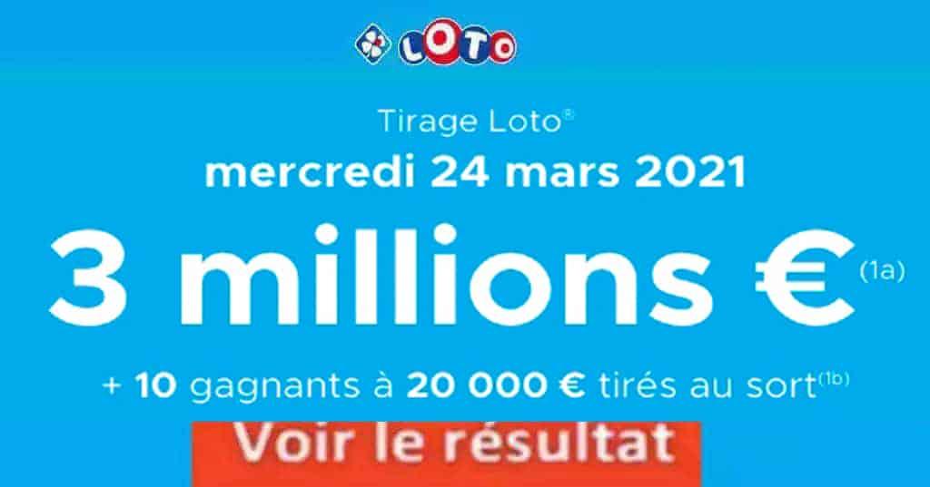 Resultat LOTO 24 Mars 2021 joker+ et codes loto gagnant