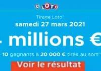 Resultat LOTO 27 Mars 2021 tirage joker+ et codes loto gagnant