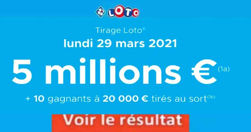 Resultat LOTO 29 Mars 2021 joker+ et codes loto gagnant