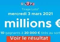 Resultat LOTO 3 Mars 2021 joker+ et codes loto gagnant